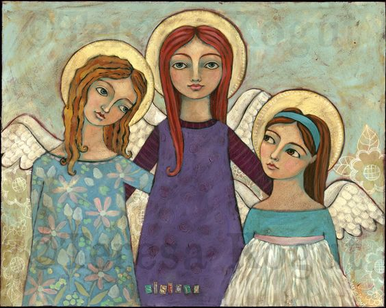 """""""Sisters"""" acrylic painting measures 24"""" x 30"""". ©Teresa Kogut, all rights reserved.  Come to my blog to see more photos and read the story of how this painting came to be."""