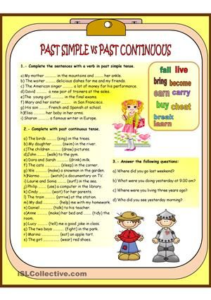 PAST SIMPLE vs PAST CONTINUOUS worksheet - Free ESL printable ...