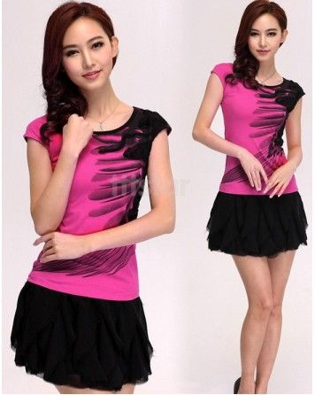 ink Sweet princess cotton Short Sleeve Slim Shirt
