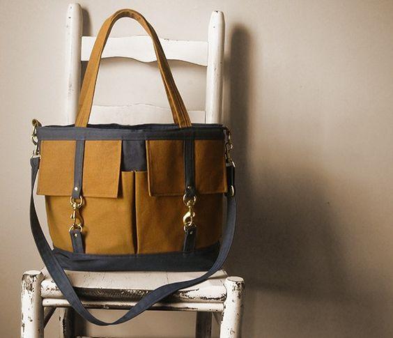 Butterscotch & grey Scout bag by Beesnetta