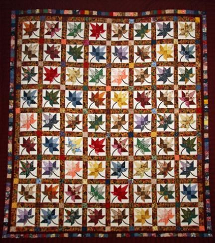 Autumn Splendor Burgundy and Multicolor Amish Quilt