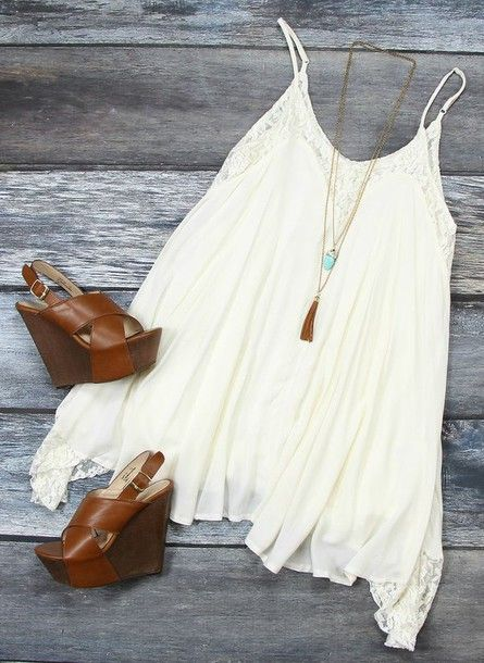 dress summer dress summer white dress wedges fashion hipster basic accessories teal necklace lace lace dress summertime teenagers shoes jewels sundress casual dress boho chic