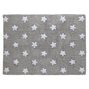 PROMOTION – Tapis de sol enfant 120×160 cm gris étoiles blanches