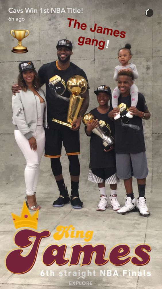 Snapchat King James Lebron with wife Savannah sons Lebron Jr. and Bryce Maximus and daughter Zhuri Nova