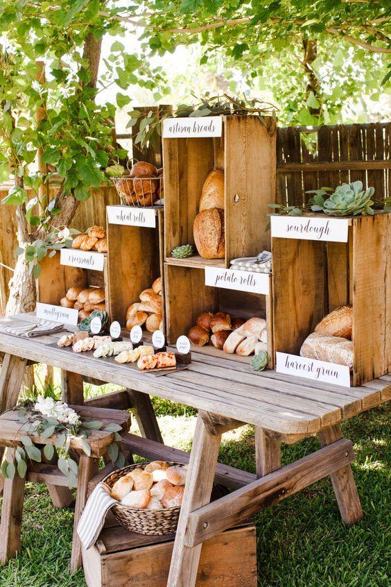 Food bar / Mesa de panes para bodas o fiestas con mucho encanto: