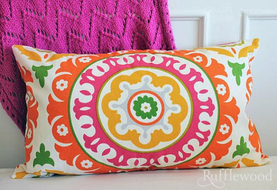 colorful pillow...I need this to go with my new orange coffee table at the beach.