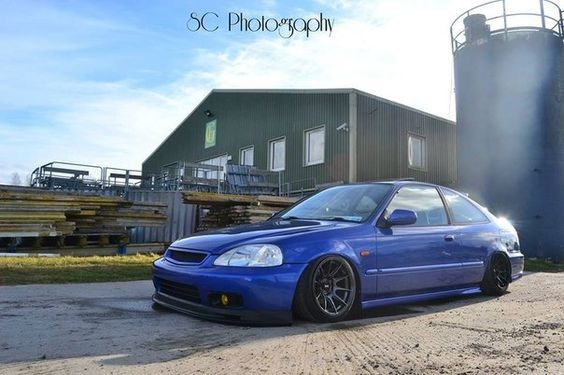4 Door Honda Civic Blue Slammed Huge Rims I Want It 2000 Honda Civic Honda Civic Coupe Honda Civic