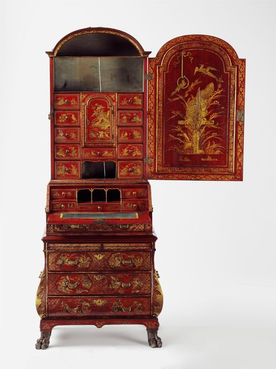 Bureau cabinet, about 1735, Great Britain, museum no. W.8 to 9-1972 | The Victoria and Albert Museum, London. Bequeathed by Sylvia Maud Cowles in memory of her brother John George Thorn-Drury