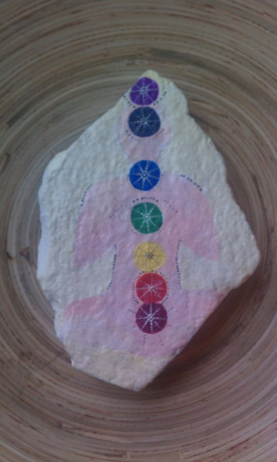 Chakra Map Handpainted Stone from the Oregon by MagickStones, $35.00