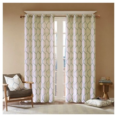 Peyton Metallic Geo Embroidered Single Window Curtain Panel Panel Curtains Curtains Drapes Curtains