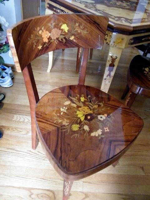 Marquetry Design Italian Wood Inlay Inlaid Multi Game Table 4 Chairs |  Furniture Reviews | Wood | Pinterest | Multi Game Table, Marquetry And Game  Tables
