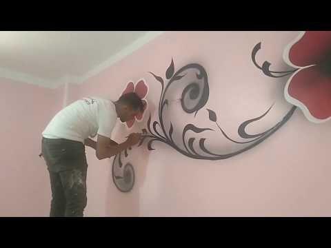 تعلم كيفية رسم كريتال في غرفة النوم بطريقه سهله جدا Youtube 3d Wall Painting Wall Paint Designs Wall Painting