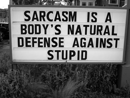 sarcasm is a body's natural defence against stupid - haha love it!: