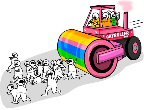 """Thank you, Jerry Falwell, for your misuse of the word """"literally"""" which has led to this hilarious depiction of your statement: """"If we do not act now, homosexuals will own America! If you and I do not speak up now, this homosexual steamroller will literally crush all decent men, women, and children who get in its way … and our nation will pay a terrible price!"""" [Can I drive?]"""