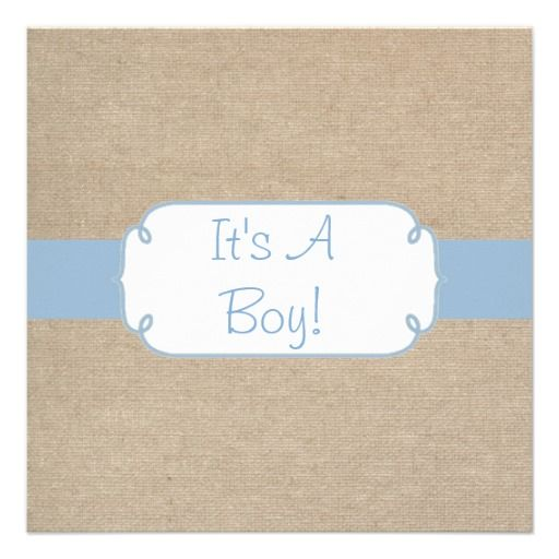 Country Light Blue and Beige Burlap Baby Shower Custom Announcement