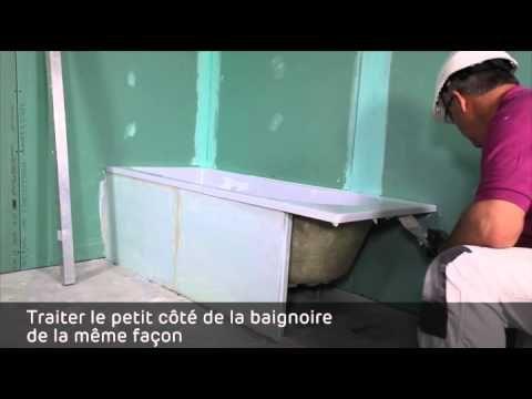 Fabrication D Un Meuble Vasque En Carrelage Youtube Carreau De Platre Baignoire Tablier Baignoire