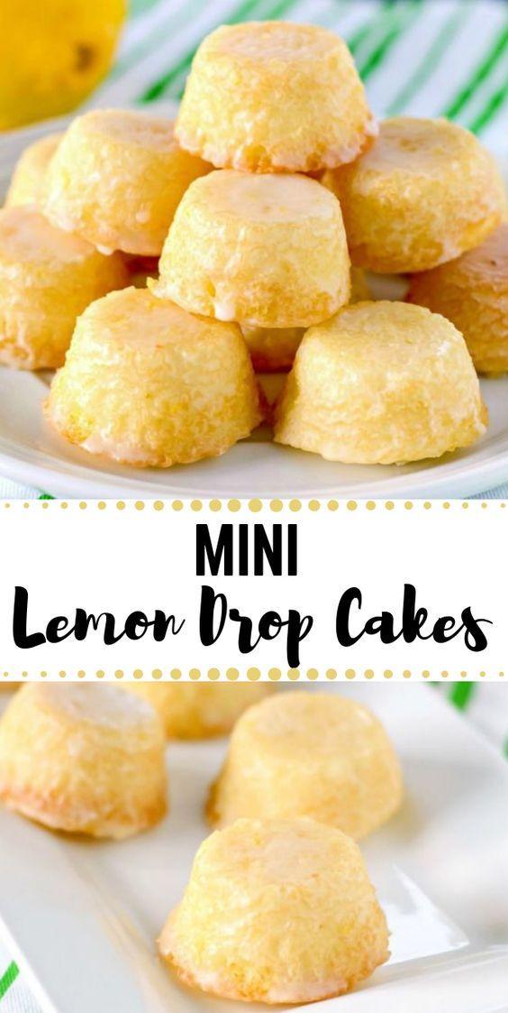 MINI LEMON DROP CAKES #minicake #dessert #recipes #lemon #pumpkin