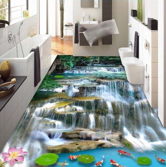 Piso del ba o pegatinas de pared and fotos on pinterest - Pegatinas azulejos bano ...