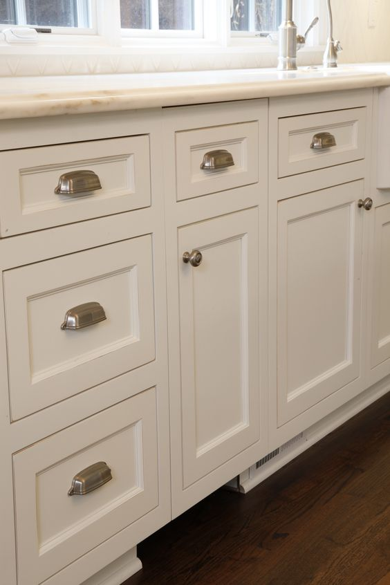 Custom white kitchen cabinets with brushed nickel hardware for Brushed nickel hardware for kitchen cabinets