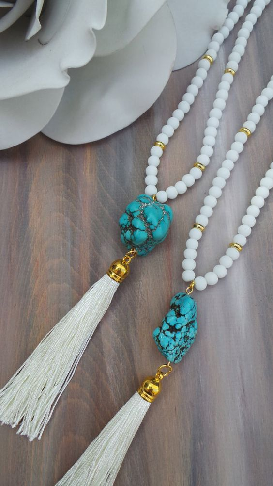 long beaded tassel necklace turquoise tassel necklace. Black Bedroom Furniture Sets. Home Design Ideas