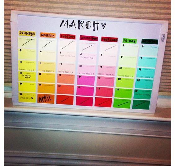 Diy Big Calendar : This diy paint strips calendar is a fun and colorful way