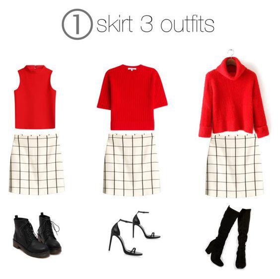 """1 skirt 3 outfits"" by montse-calderon on Polyvore featuring moda, H&M, Courrèges, Carven, Faith y Yves Saint Laurent"