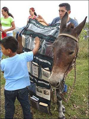 Since the late 1990s, Luis Soriano and his donkey librarians (Alfa and Beto) have been trekking along Columbia's Caribbean shore, delivering a rotating selection from the library's 4,800 donated volumes to children who have no books in their homes.  http://www.pbs.org/pov/biblioburro/: