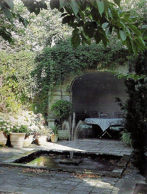 grotto, sunken pond, outdoor room, pavers