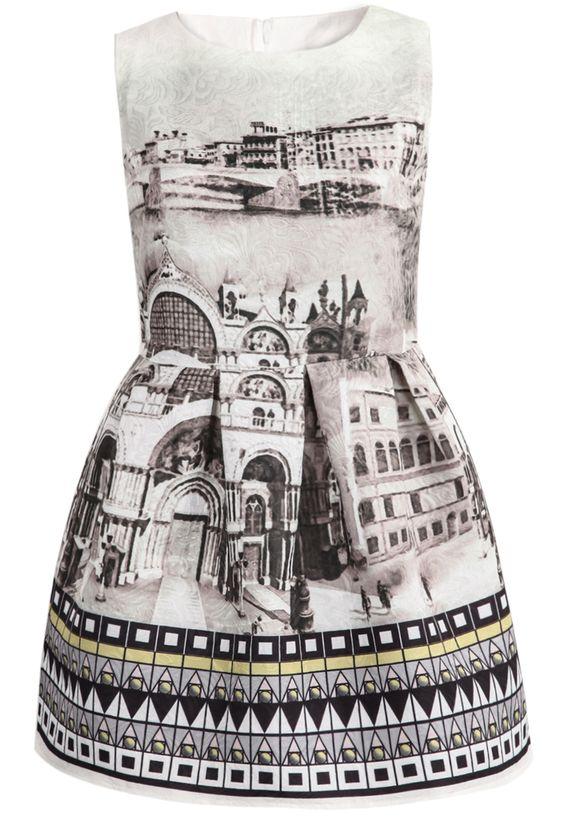 Shop Green Sleeveless Vintage Print Jacquard Dress online ...