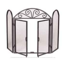 "52""W x 32""H Black Wrought Iron Omro Fireplace Screen with Doors - click to enlarge"