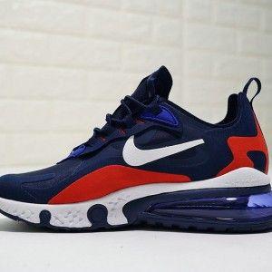 Mens Winter Sneakers Nike React Air Max 270 Dark Blue Red White