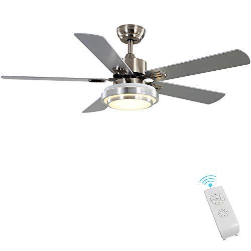 Indoor Ceiling Fan Light Fixtures Finxin Remote Led 52 Brushed Nickel Ceiling Fans For Bedroom Li Ceiling Fan Light Fixtures Ceiling Fan With Light Fan Light Indoor ceiling fans with lights