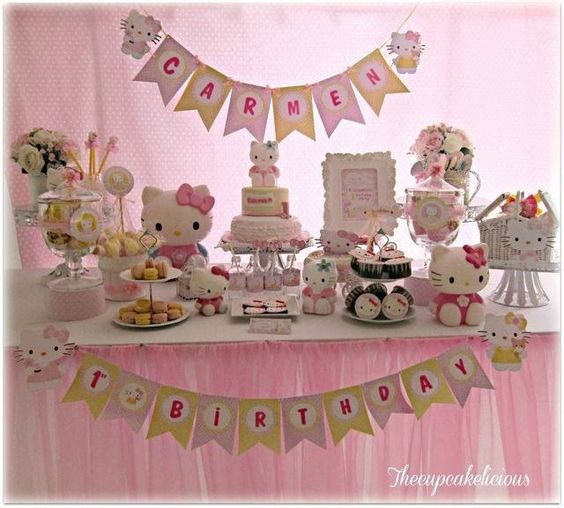 Birthdays photos and birthday party ideas on pinterest for Table exterieur hello kitty