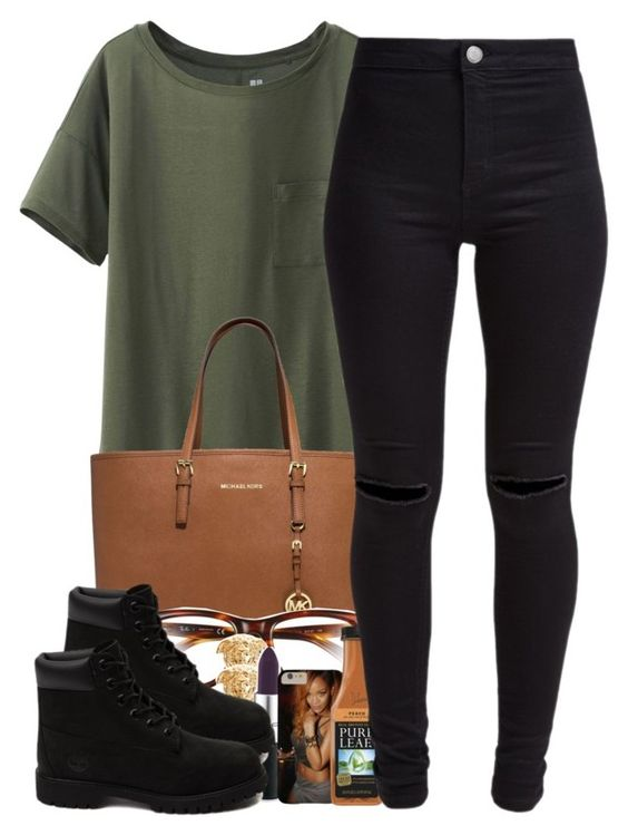 """""""7/2/15"""" by janiceeveillard ❤ liked on Polyvore featuring Uniqlo, MICHAEL Michael Kors, Ray-Ban, Versace, Timberland and New Look"""