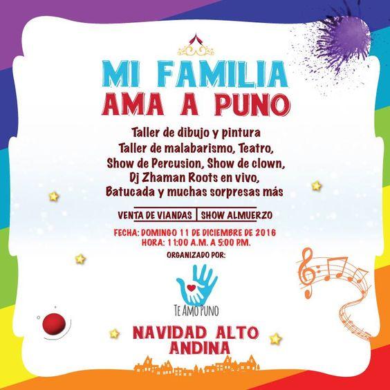#NavidadAltoandina   Vive un domingo diferente en nuestra Facultad con las actividades recreativas que el Proyecto TE AMO PUNO tiene preparado para ti y tu familia. Participa en este gran evento pro-fondo y ayuda a nuestros hermanos de #Puno.