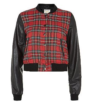Red Pattern (Red) Parisian Red Tartan Contrast Bomber Jacket | 296871069 | New Look