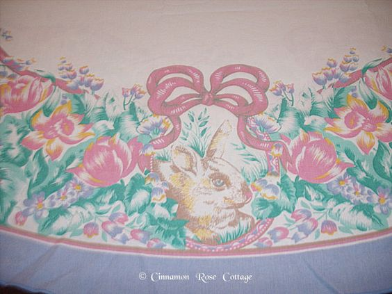 Vintage Cotton Spring Easter Tablecloth by cinnamonrosecottage