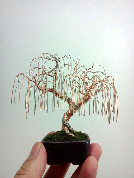 And This D A Minni Willow Tree How Cute D How To Make A Wire Jewelry Tree Miniature Wire Bonsai Trees By Ke Wire Art Wire Tree Sculpture Miniature Trees