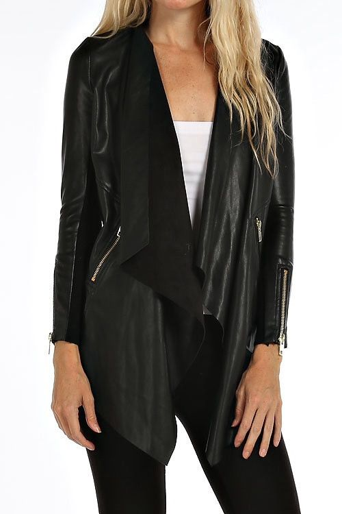Black Faux Leather Waterfall Jacket from Divine Couture Boutique