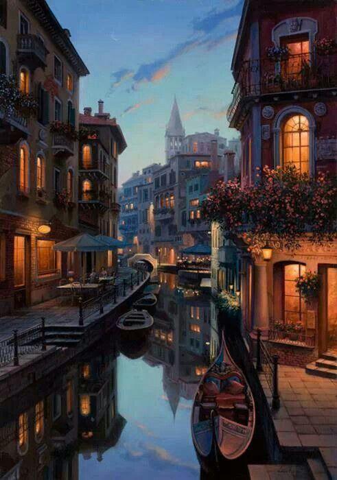 ヨーロッパの水路のある夜景