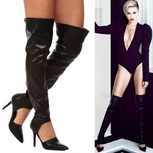 Cicihot | Facebook-Black Faux Leather Pointed Toe Cut Out Thigh