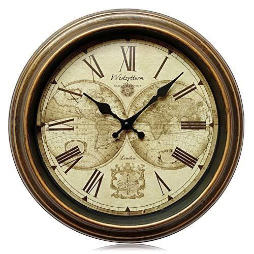 Westzytturm Round Old Antique Clocks For Living Room Decor Vintage Classic Rustic Wall Clock Silent Non Ticking Battery Operated Quartz Movement Suitable For Of Rustic Wall Clocks Wall Clock Silent Rustic