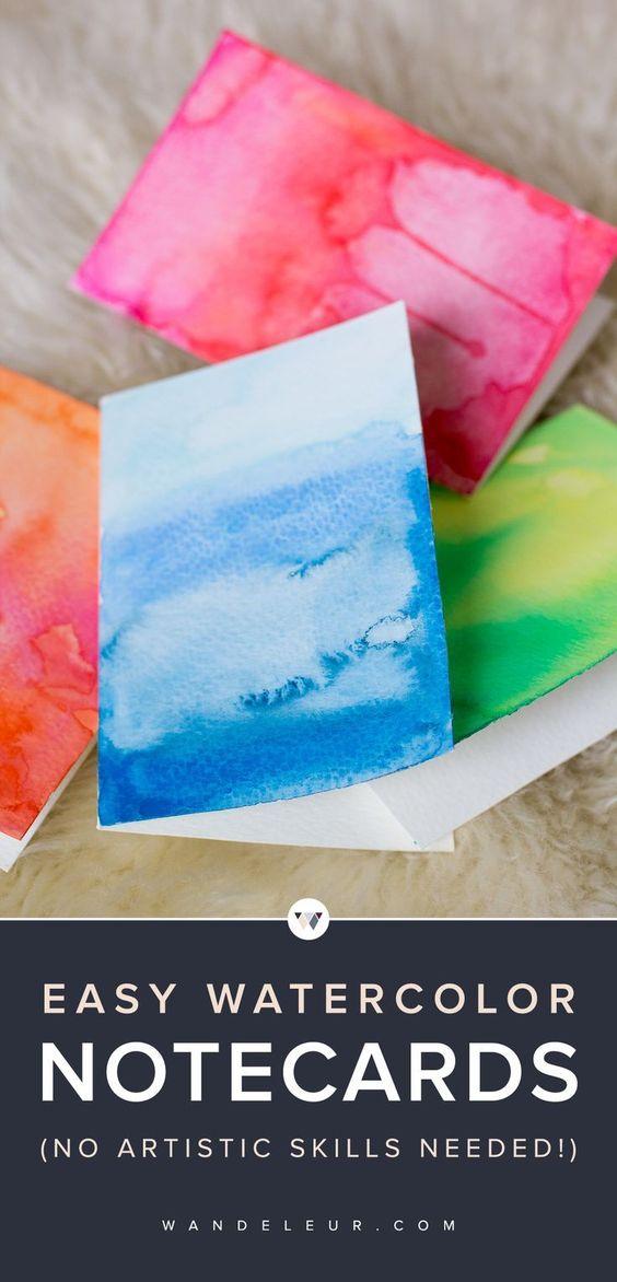 DIY Watercolor Greeting Cards | www.wandeleur.com