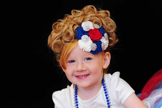 Over The Top Red White and Blue Felt Flower Headpiece by aubreytoe, $29.99
