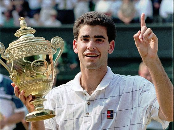 Pete Sampras (born 1971) is a retired American tennis player & former World No. 1. During his 14-year tour career, he won 14 Grand Slam singles titles, becoming the first player to break Roy Emerson's record of 12 Slams. Sampras also won 7 major indoor titles. He is recognized as one of the greatest tennis players of all time. His seven Wimbledon singles championships is an Open Era record shared with Roger Federer...Sampras is the last American male to win Wimbledon (2000)