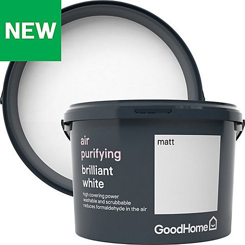 Goodhome Air Purifying Brilliant White Matt Emulsion Paint 2 5l Painted Ceiling Goodhome Diy Painting