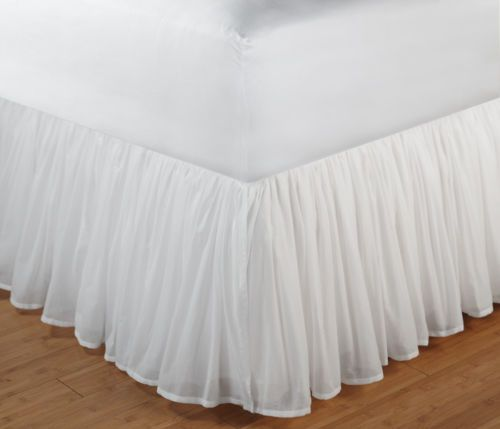 "Cotton Voile Queen Bedskirt Dust Ruffle White Layered Bed Skirt 18"" Drop 