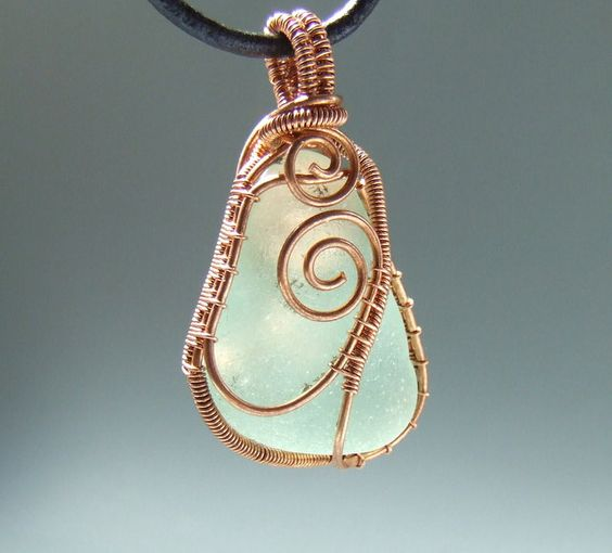 wire wrapped recycled glass pendant. Wire Wrapped Recycled Glass Pendant. Mint Sea Light Green Beach  Copper Pendant