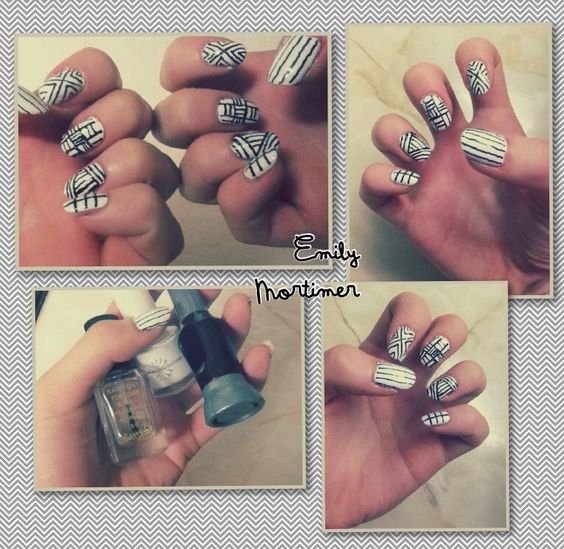 Monochrome Lined Nail Art - Followed from a tutorial by cutepolish on YouTube :)