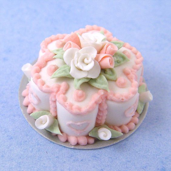 Pink Frosted Flower Cake w/Roses | Stewart Dollhouse Creations